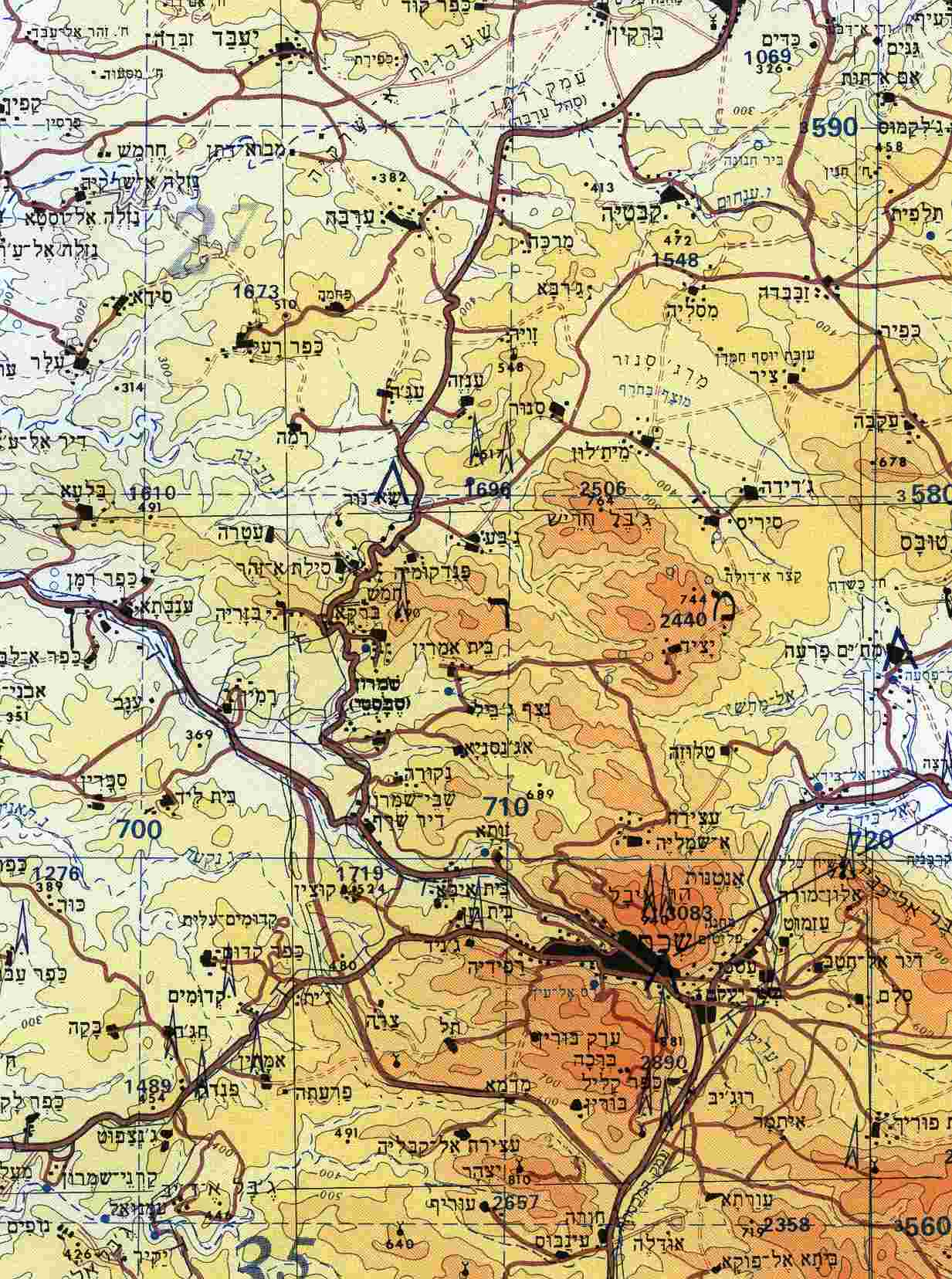 Topographical Map Of India
