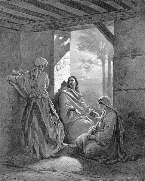 마르다와 마리아의 집을 방문하신 예수(귀스타브 도레, Gustave Dore, 1866년)