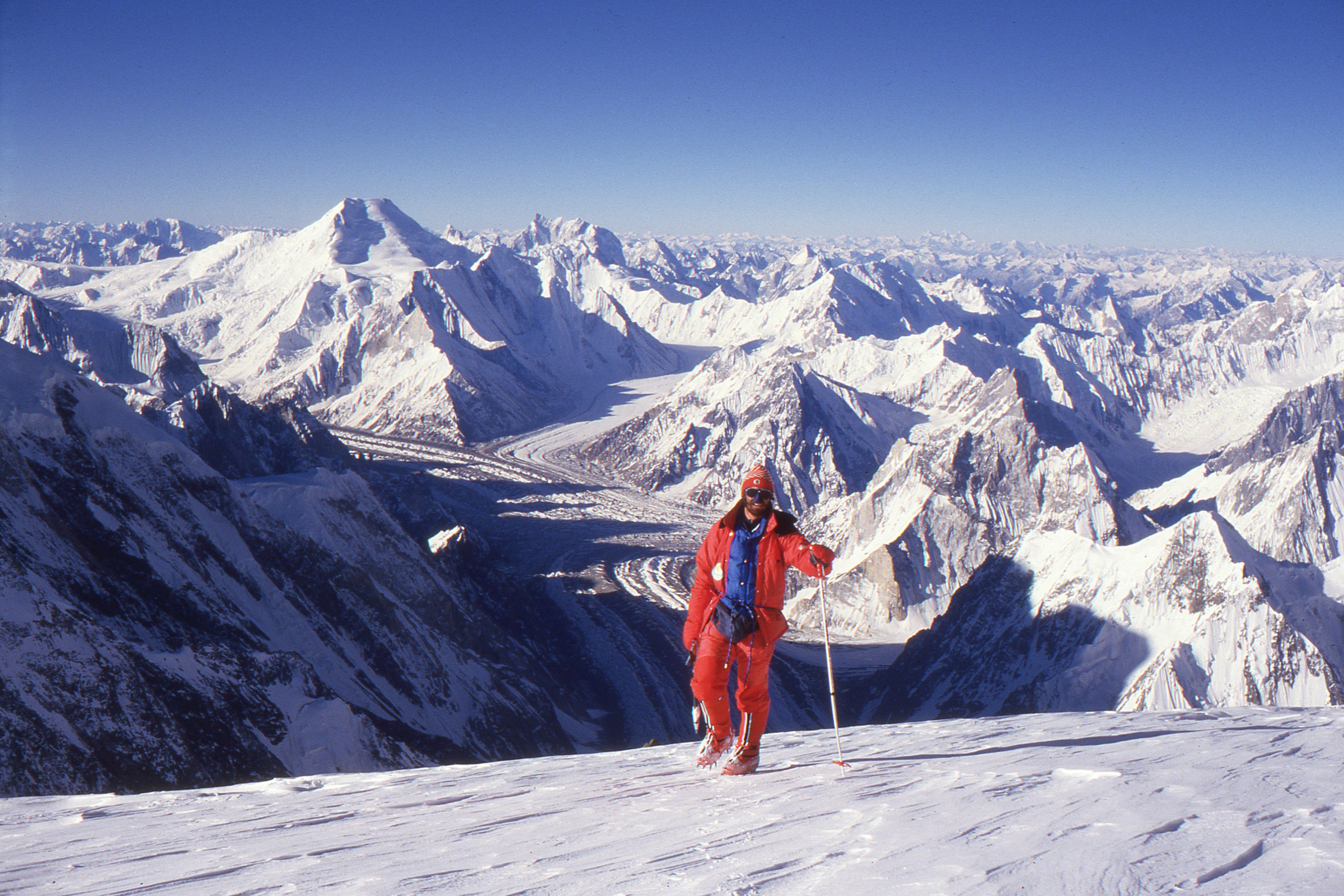 Christian Stangl on top of K2 360 summit view July 31st