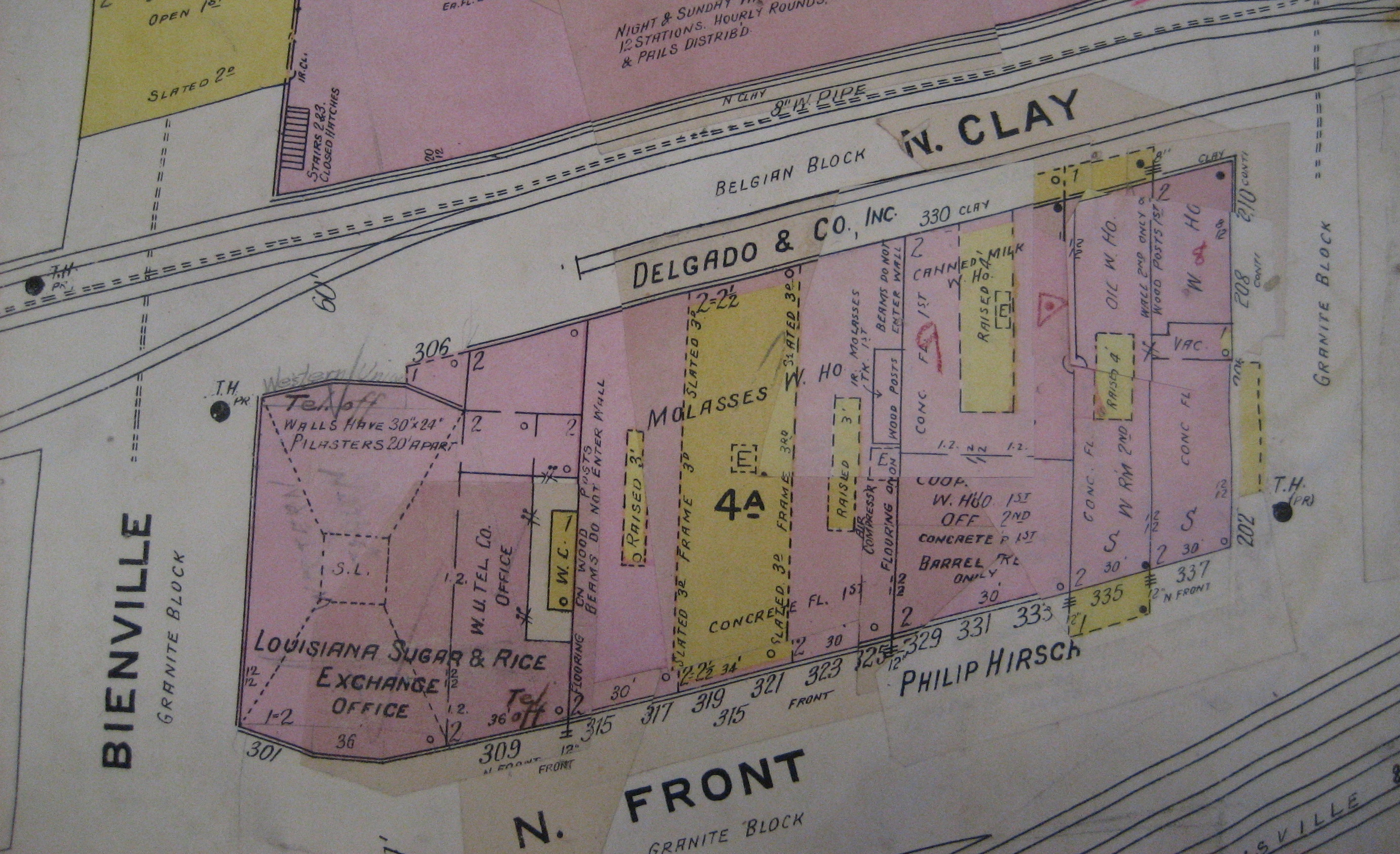 Early 20th century Sanborn map showing a (since demolished) block of [[New Orleans