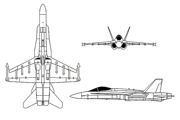 Orthographically projected diagram of the F/A-18 Hornet.