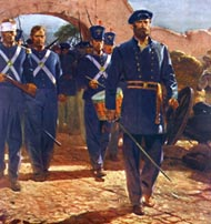 a formation of Marines wearing blue uniforms march through the gates of Mexico City, led by a drummer and officer with drawn sword