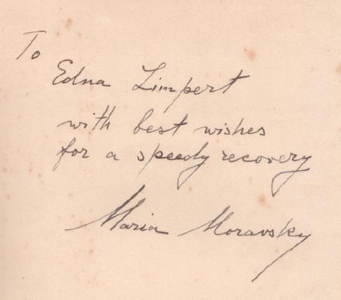 Автограф Марии Моравской времён жизни в США