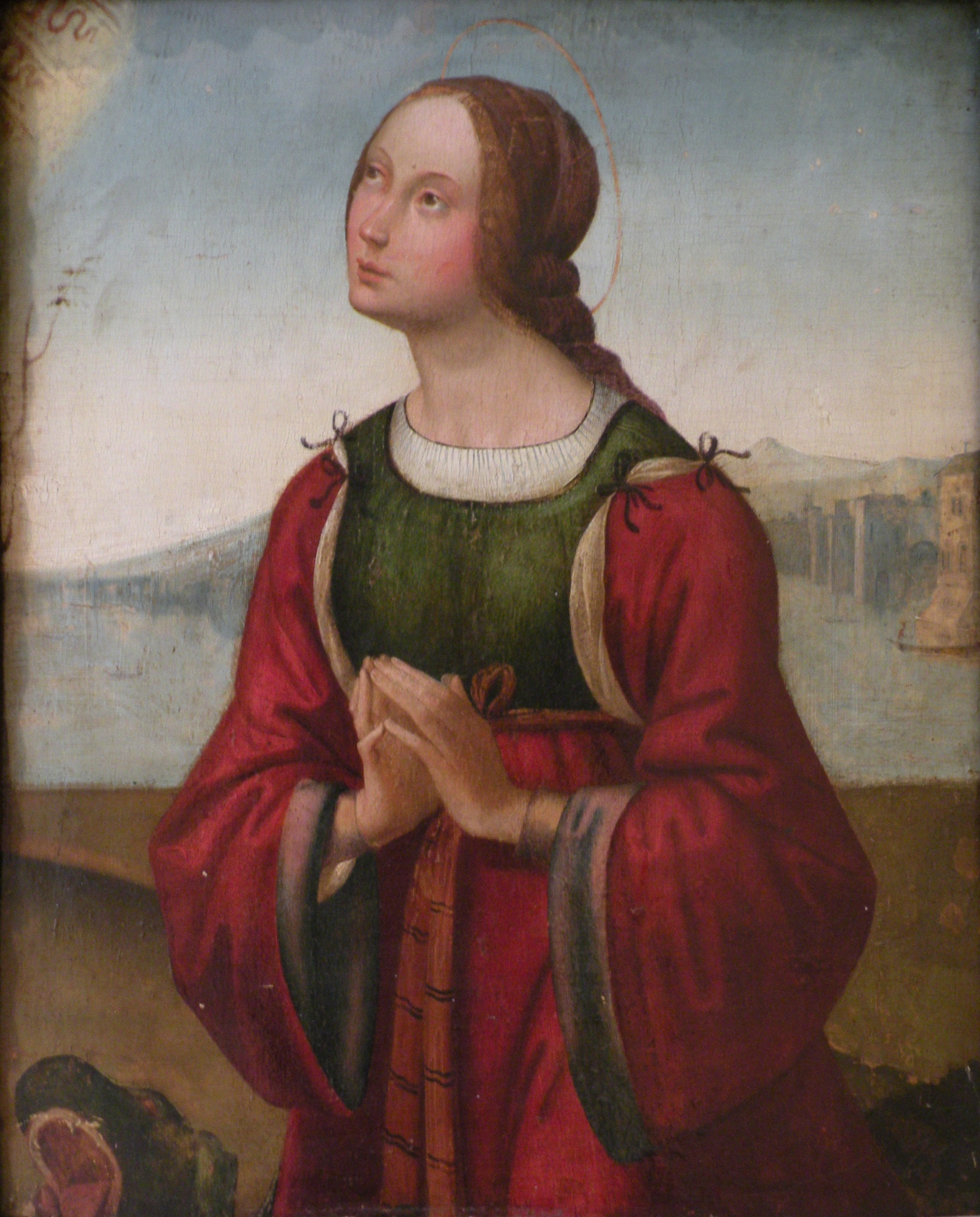 Sainte Marguerite en prière, tableau de Lorenzo Costa
