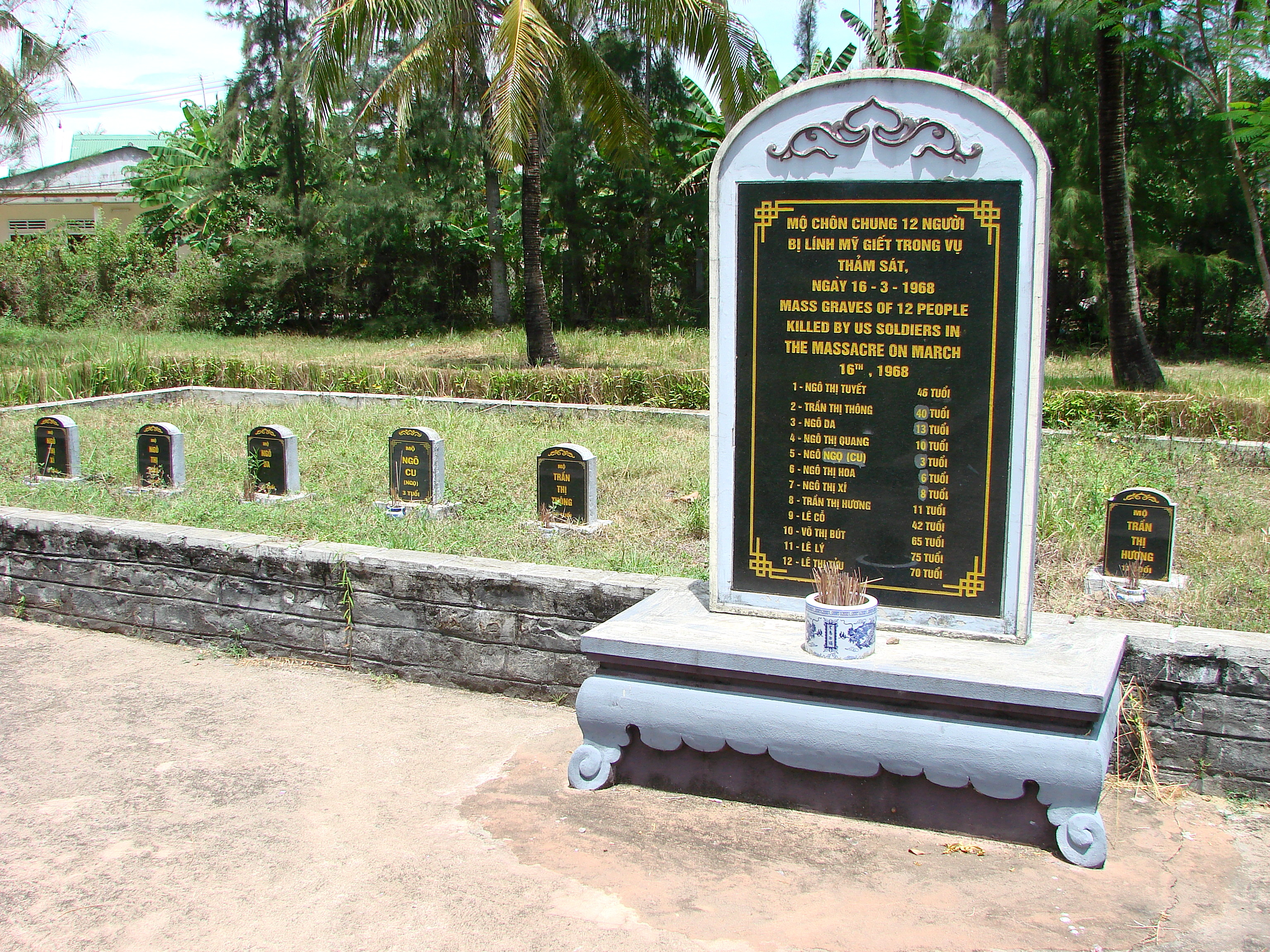 Mass grave for 12 victims of the My Lai massacre, 16 March 1968