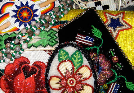 Examples of contemporary Native American beadwork Nat Am beadwork sampler.jpg