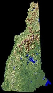 Shaded relief map of New Hampshire