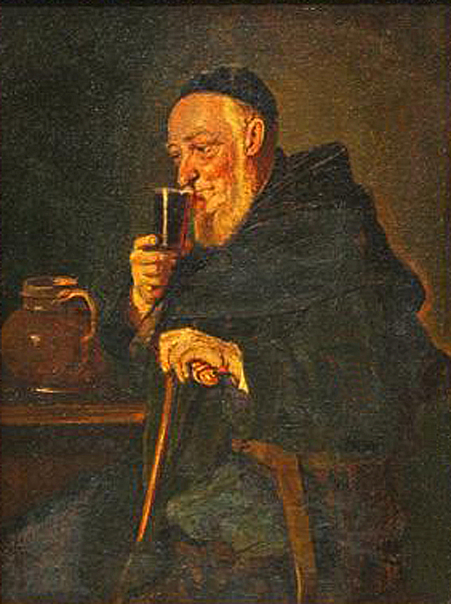 File painting european monk drinking wine for Painting while drinking wine