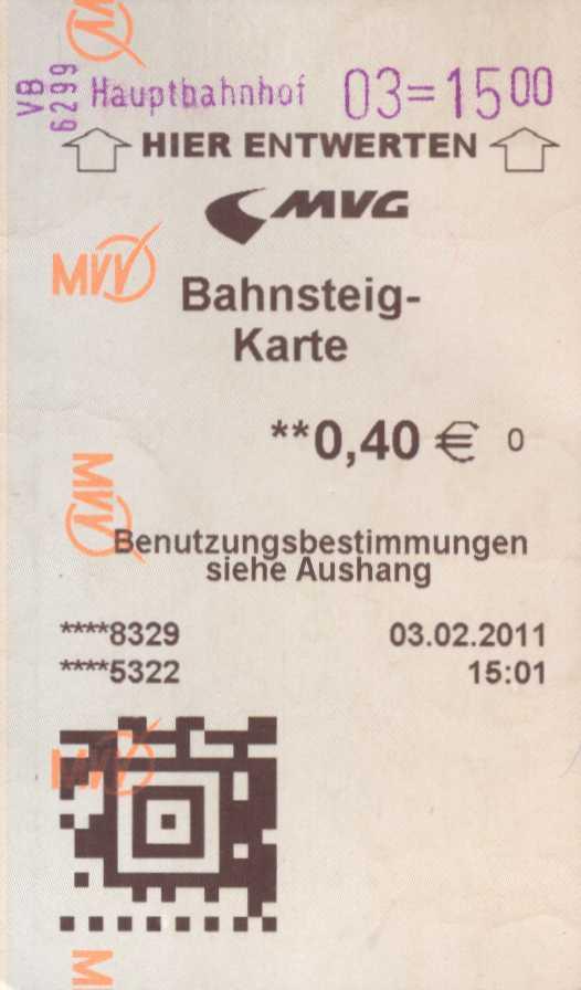 Bahnsteigkarte des Münchner Verkehrsverbundes aus dem Jahr 2011, Quelle: WikiCommons, Details siehe Artikel unten