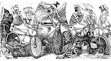 Satirical print by Jose Guadalupe Posada with bicyclists labeled with the names of Mexico City newspapers Posada6.Bikes.jpeg