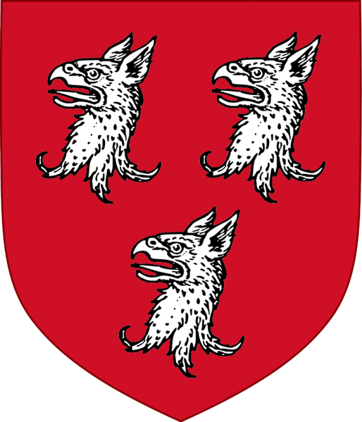 Ryan coat of arms: a griffin on top of a helmet over a red shield depicting three griffin's heads