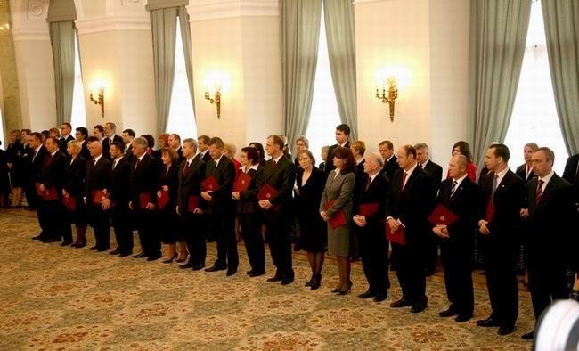 Rząd Donalda Tuska w czasie uroczystości zaprzysiężenia w Pałacu Prezydenckim