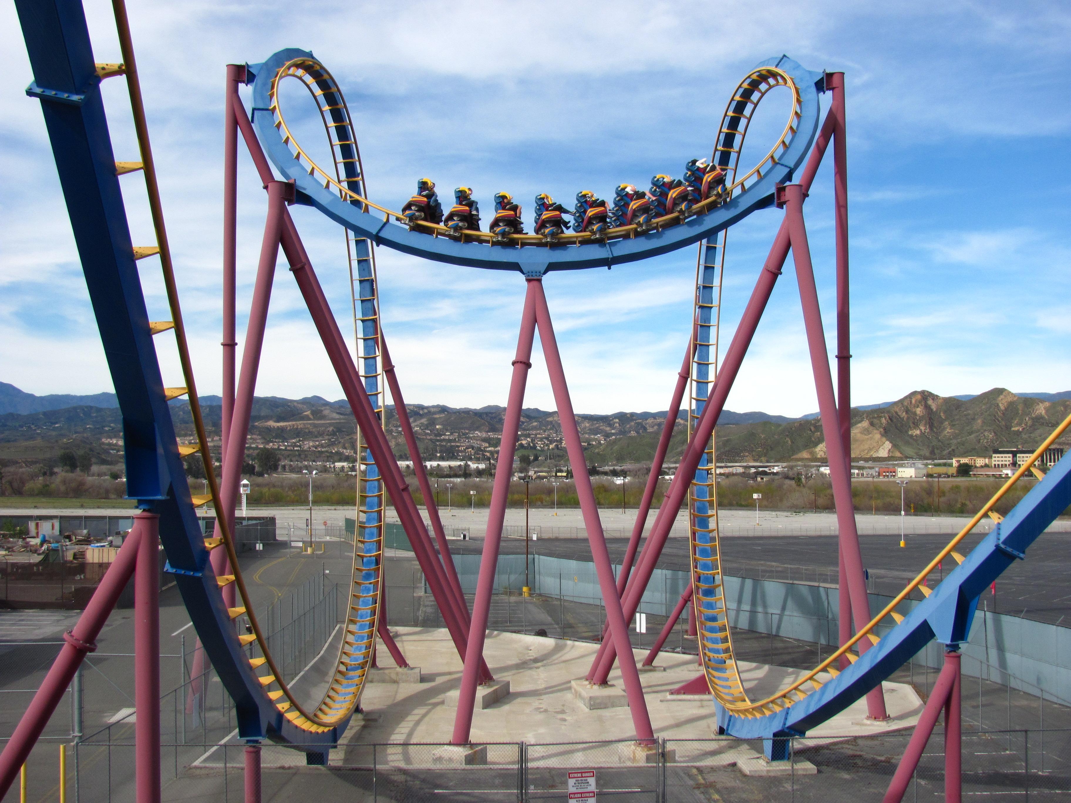 Roller coaster and a batman roller coaster roller coaster and a