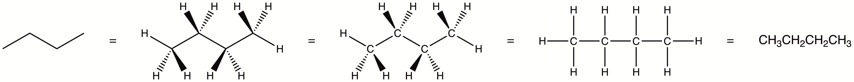 This diagram shows 5 different structural representations of the organic compound butane. The left-most structure is a bond-line drawing where the hydrogen atoms are removed. The 2nd structure has the hydrogens added depicted-the dark wedged bonds indicate the hydrogen atoms are coming toward the reader, the hashed bonds indicate the atoms are oriented away from the reader, and the solid (plain) ponds indicate the bonds are in the plane of the screen/paper. The middle structure shows the four carbon atoms. The 4th structure is a representation just showing the atoms and bonds without 3-dimensions. The right-most structure is a condensed structure representation of butane.