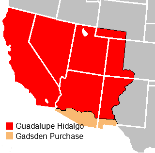 The Mexican Cession (in red) was acquired through the Treaty of Guadalupe Hidalgo. The Gadsden Purchase (in orange) was acquired through purchase after Polk left office. Treaty of Guadalupe Hidalgo.png