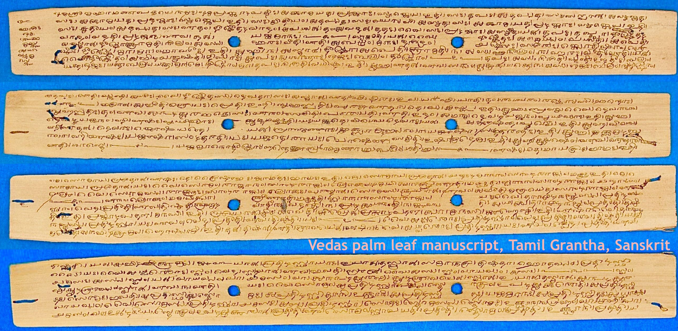 Sanskrit Of The Vedas Vs Modern Sanskrit: File:Vedas Palm Leaf Manuscript, Tamil Grantha Script