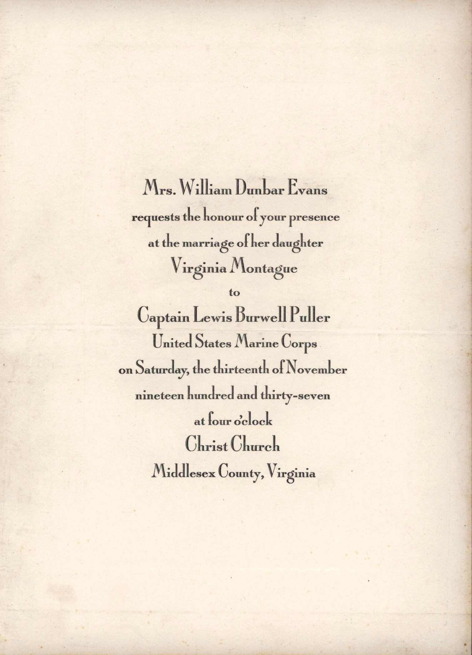 File:Wedding Invitation, Virginia Montague to Lewis B. Puller, 13 ...