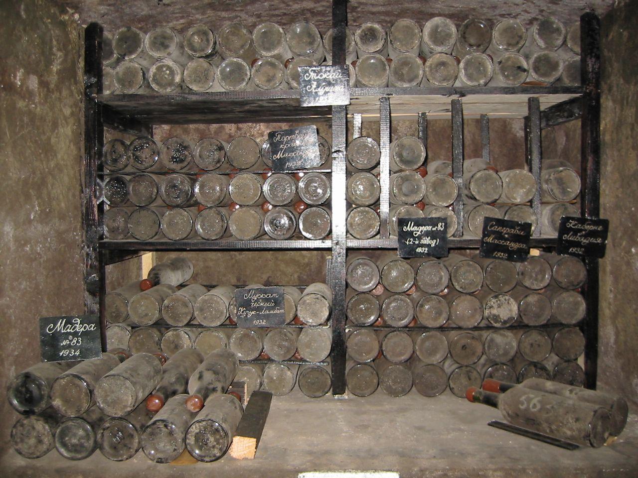 File Wine bottles aging in Massandra cellars jpg   Wikimedia Commons