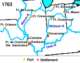 French settlements and forts in the so-called Illinois Country, 1763, which encompassed parts of the modern day states of Illinois, Missouri, Indiana and Kentucky)