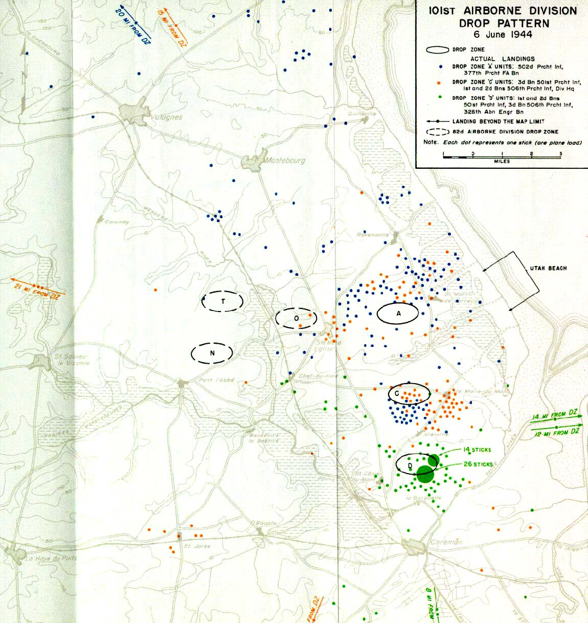 File 101st Airborne Drop Pattern D Day 6 June 1944 Jpg Wikimedia Commons