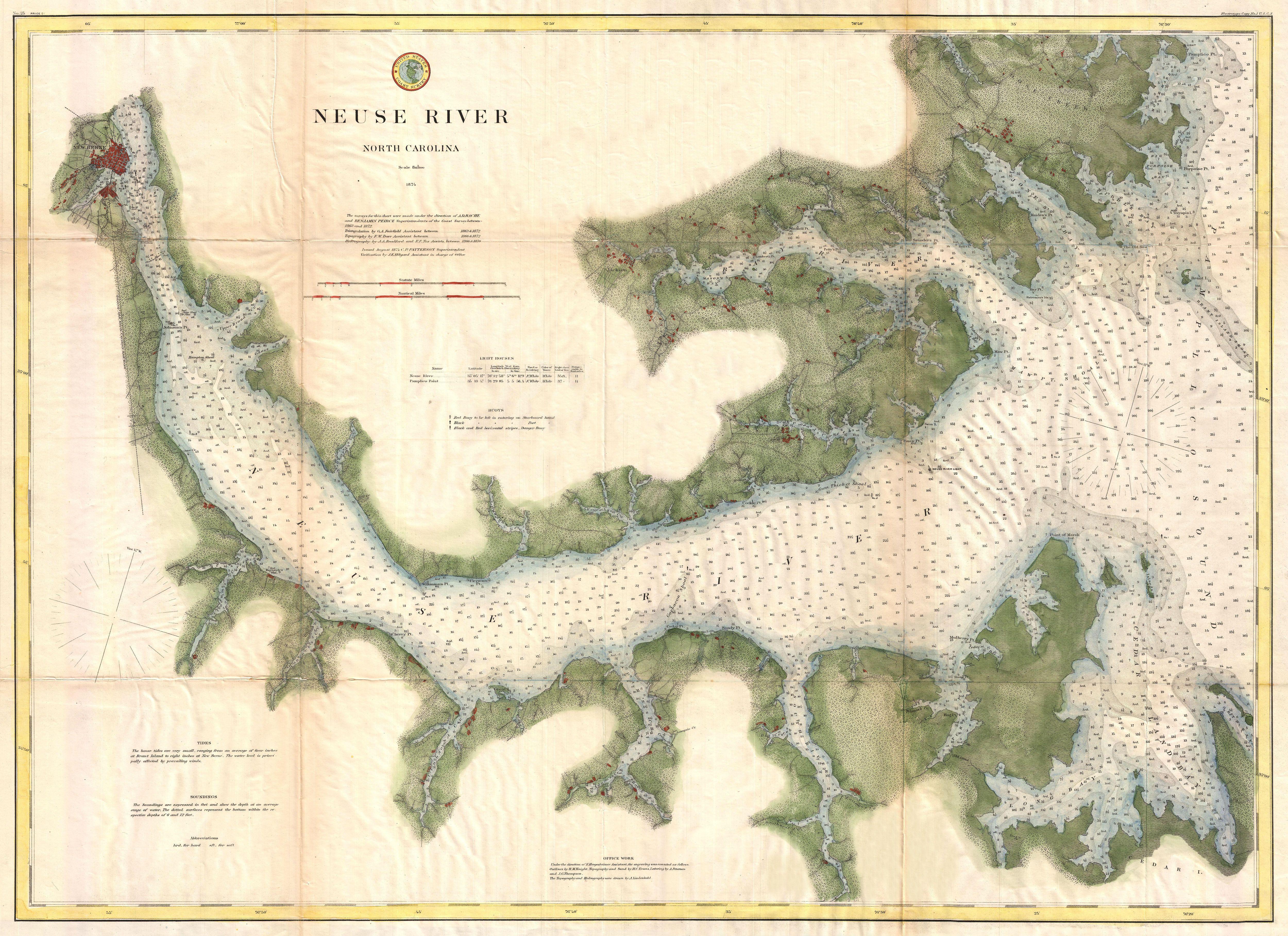 Marine Charts: 1874 U.S. Coast Survey Map of the Neuse River North Carolina ,Chart