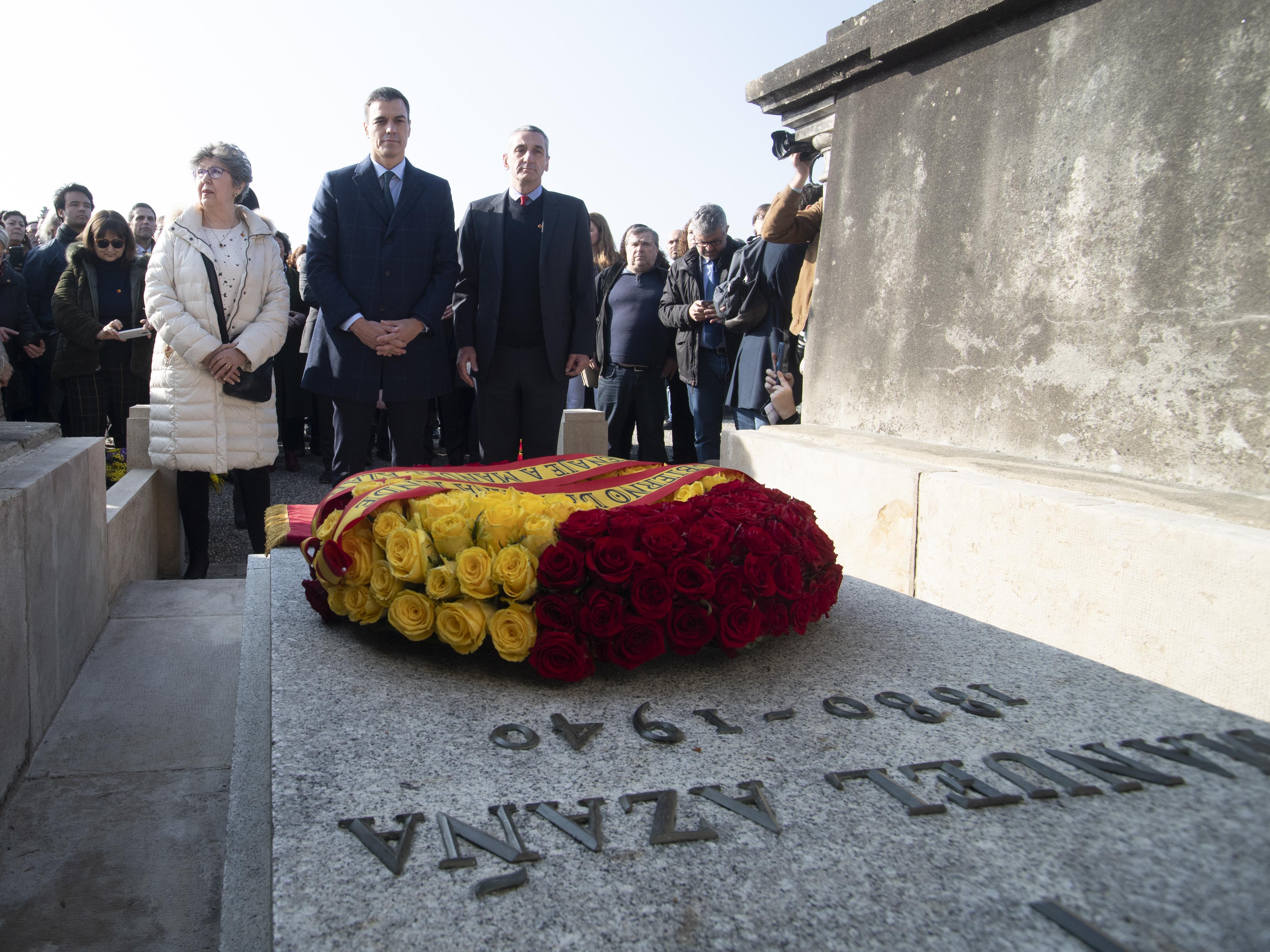 Pedro Sánchez asistiendo a un homenaje a Azaña en Montauban (Francia), en febrero de 2019.
