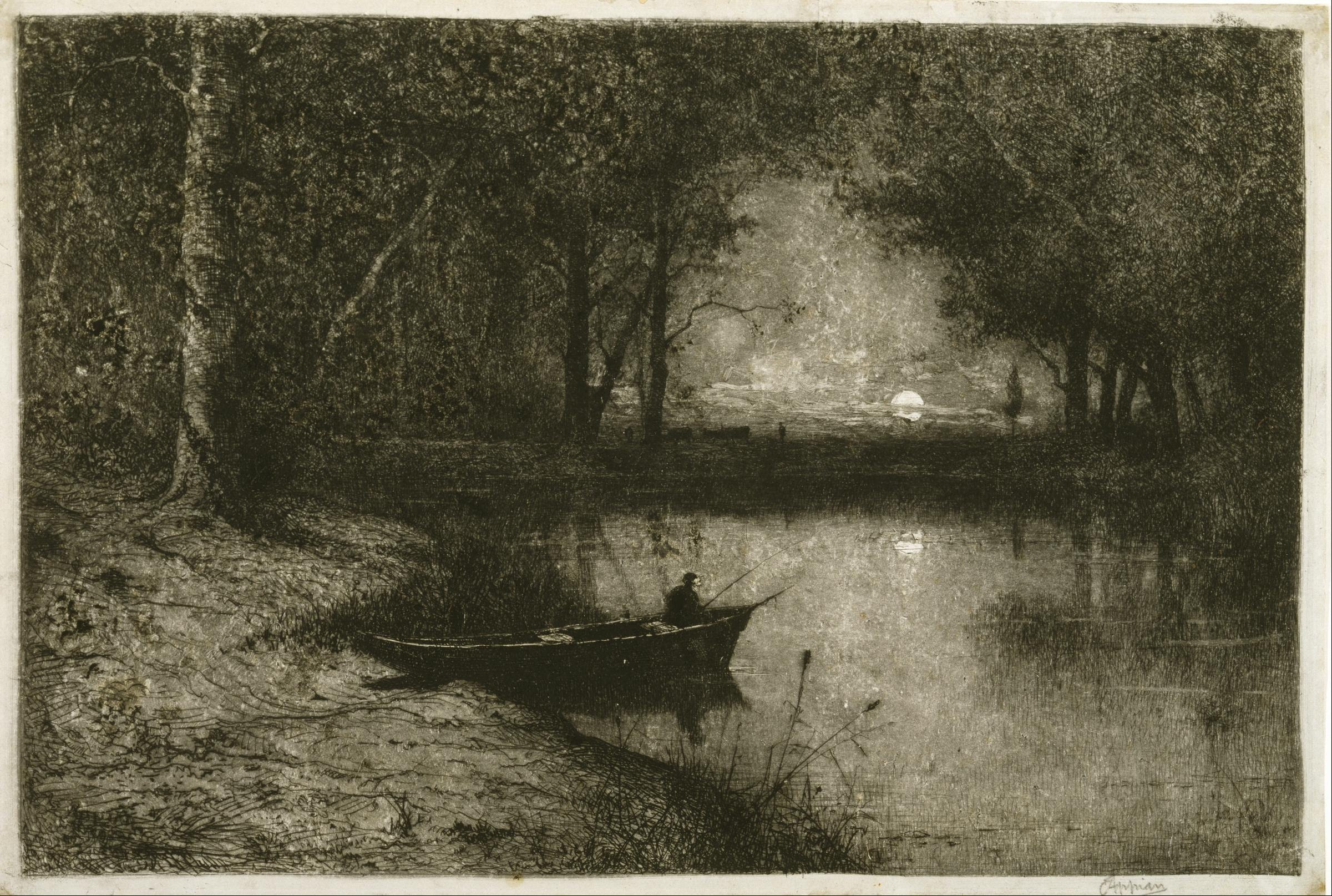 Finest File:Adolphe Appian - Fisherman in a Rowboat, at the Edge of a  NJ12
