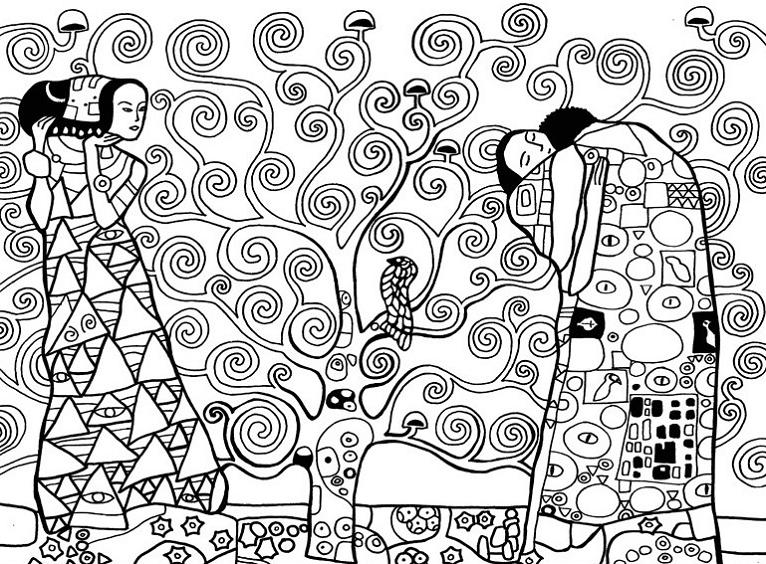 Filealbero Della Vita Di Gustav Klimt In Bianco E Nero Da