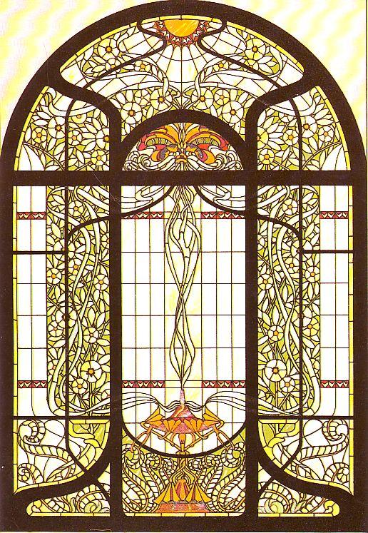 Muster Tapete Um Fenster Kleben : Datei:Arnold Lyongr?n, Vorlage f?r ein Fenster im Jugendstil (Berlin