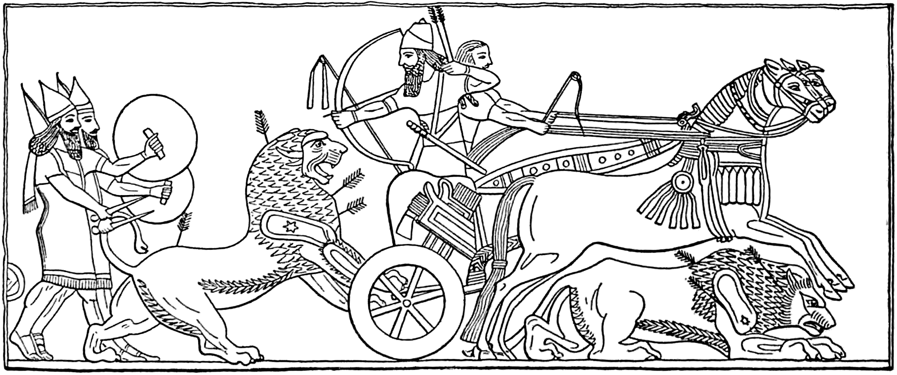 File assyrian king hunting wikimedia commons Coloring book wiki
