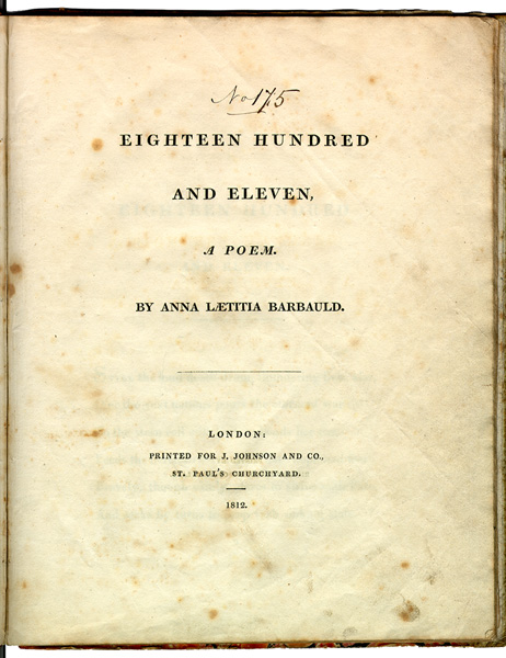 Original title page from Eighteen Hundred and Eleven Barbauld1811.JPG