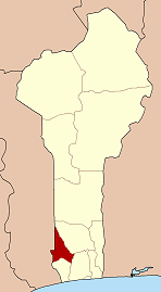 Map of Benin highlighting Kouffo department