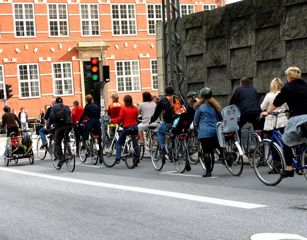 Bicycle rush hour in Copenhagen, where 37% of ...