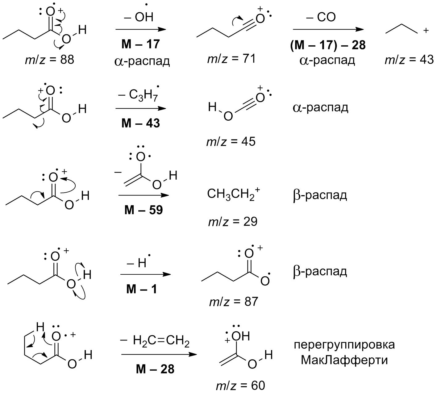 Пути фрагментации масляной кислоты в масс-спектрометрических экспериментах
