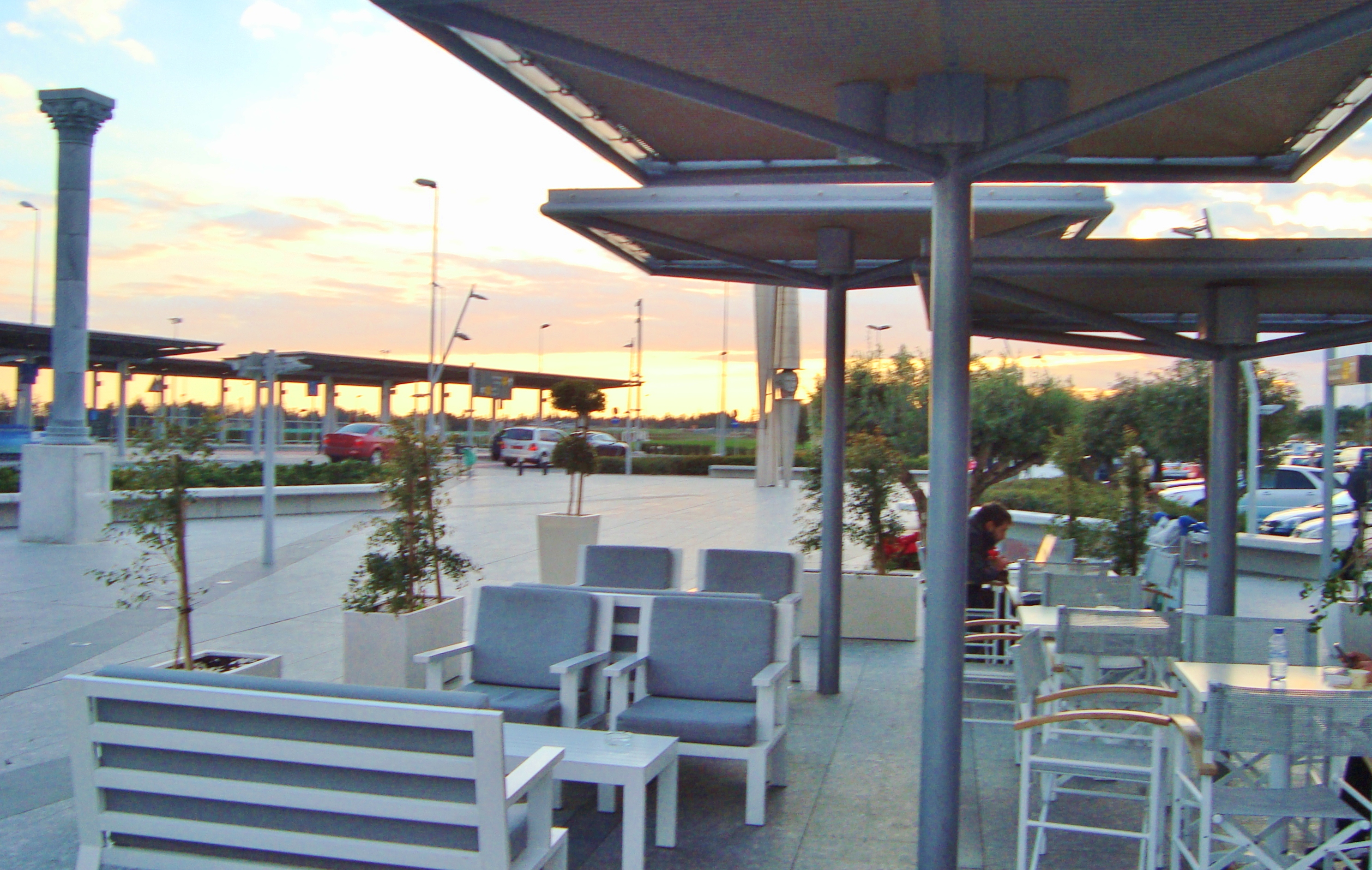 Outside Bar Filecafeteria And Bar Outside Larnaca Airport During Afternoon