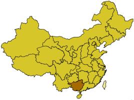 Localización de la Región Autónoma de Guangxi.