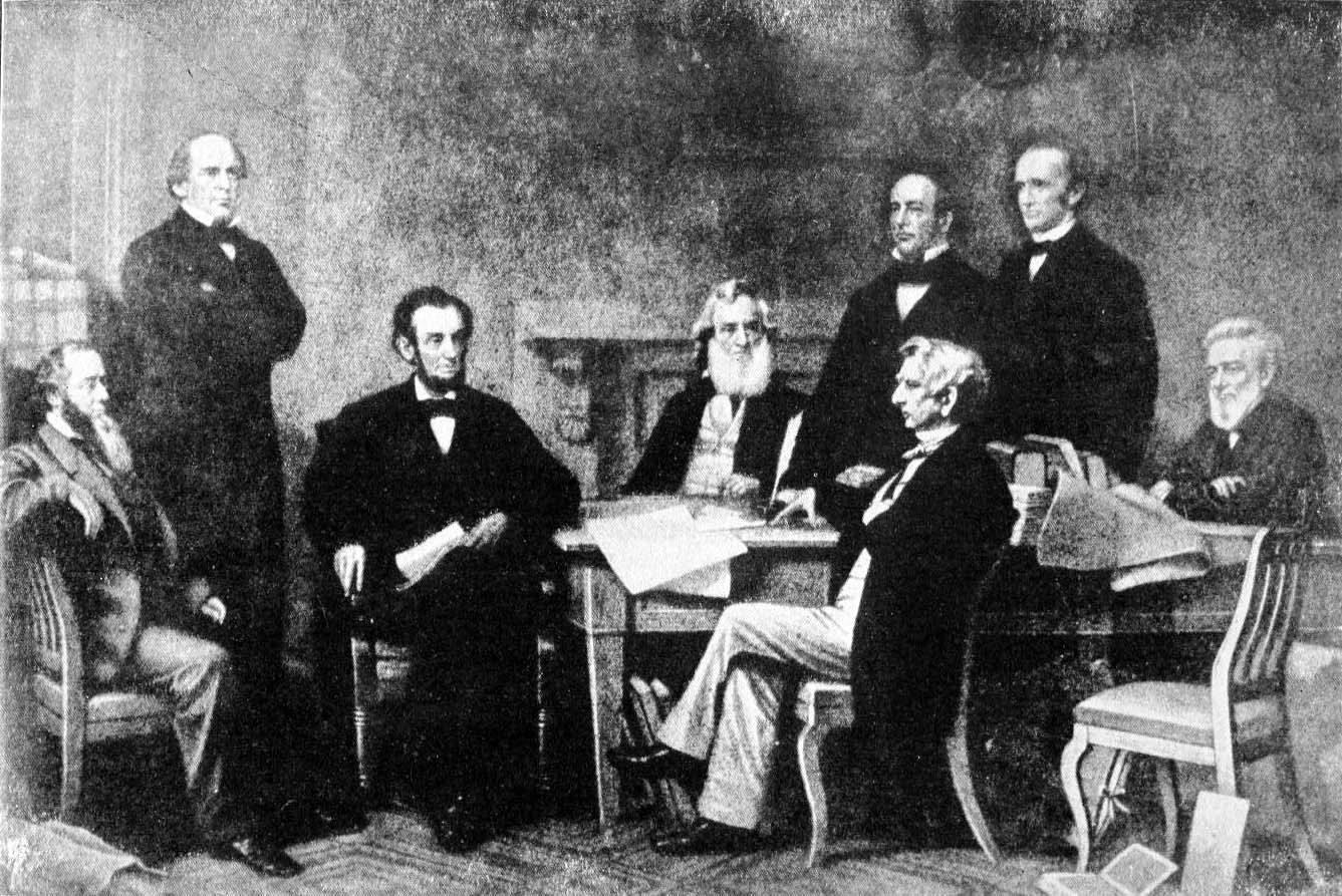 Depiction, 1864 cabinet meeting, presidency of Abraham Lincoln (1921)