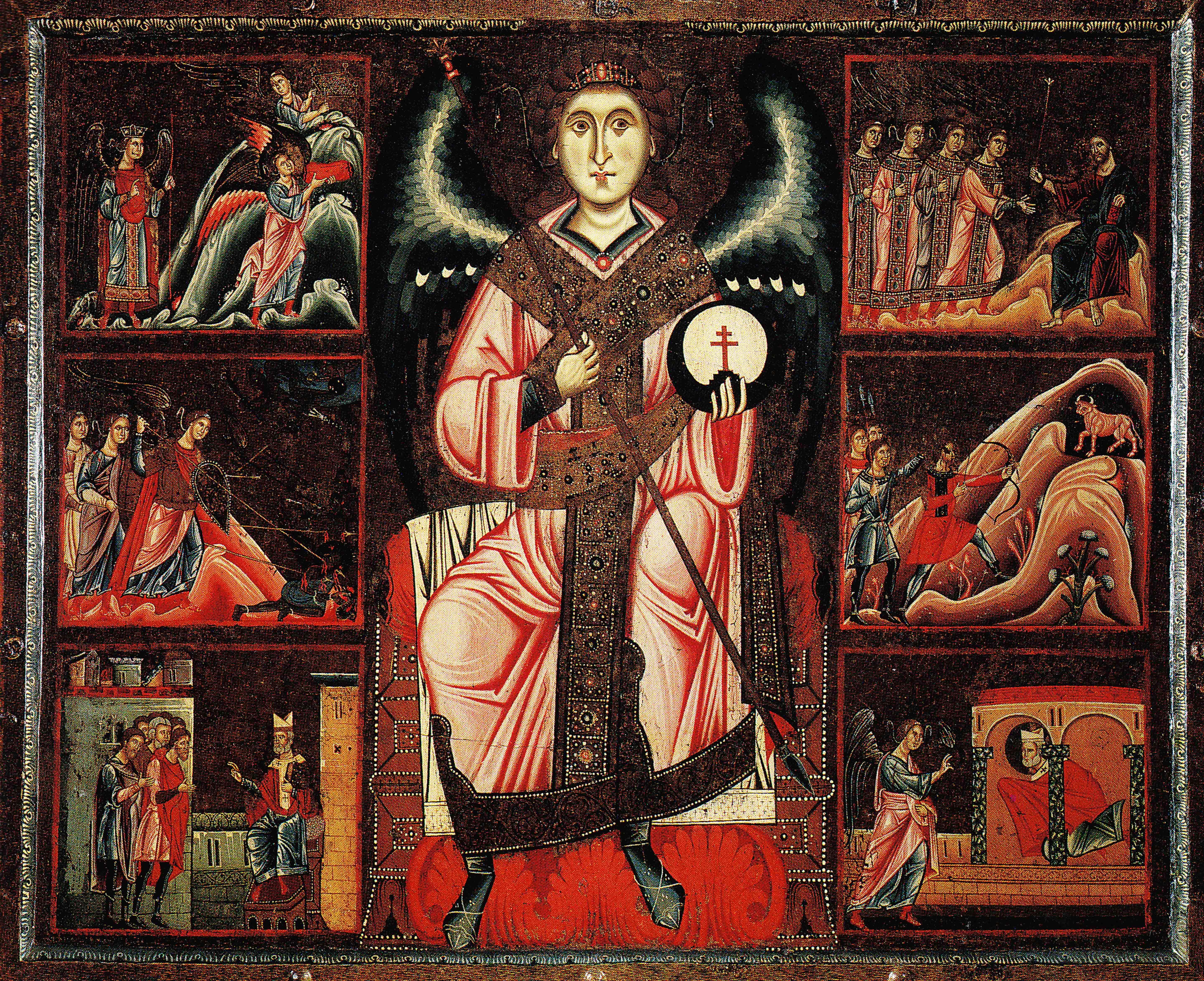 File:Coppo di marcovaldo St Michael and his legend 1250-60 san casciano val d...