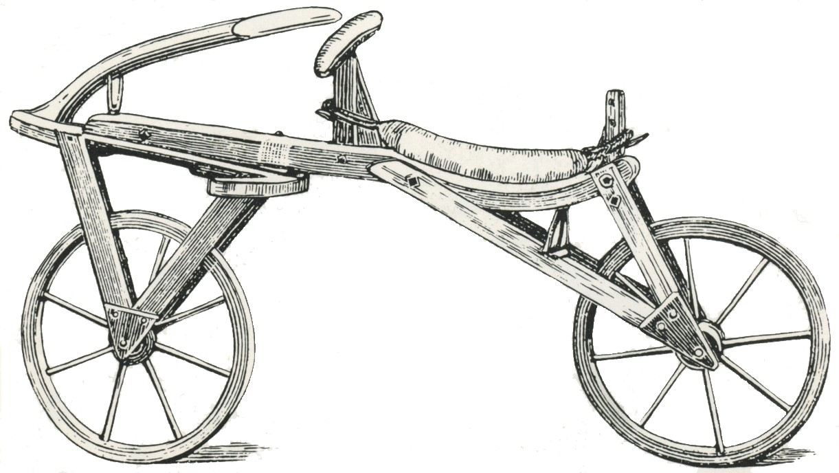 Draisine - ancient bicycle made from wood