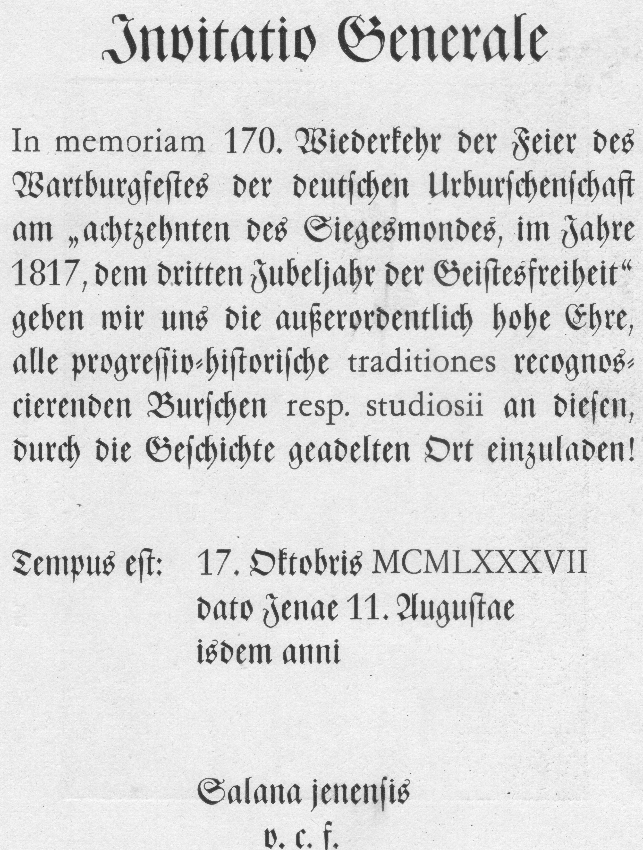 file:einladung wartburgfest - wikimedia commons, Einladungen