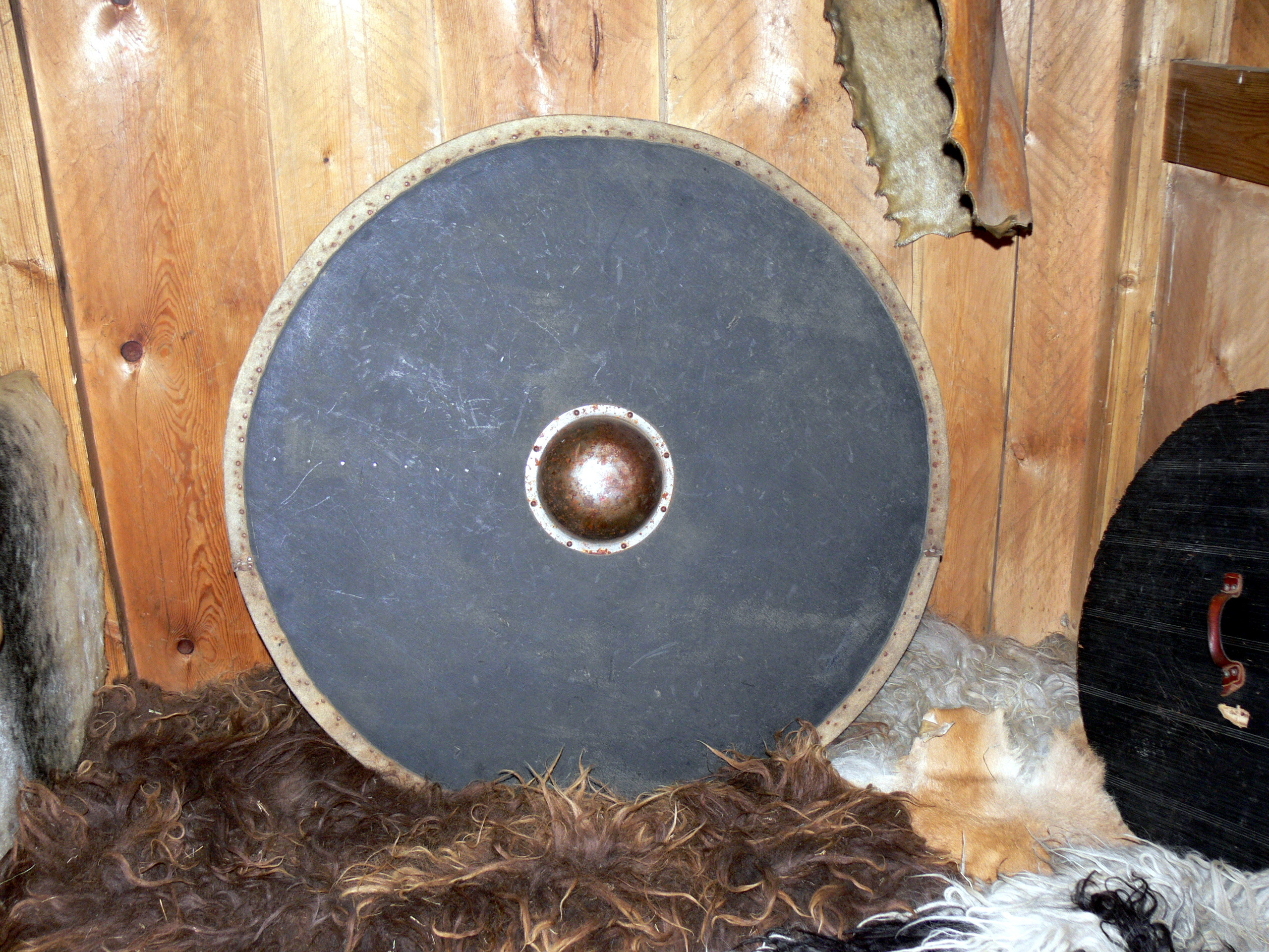 Image shows a round Viking shield leaning against a wall. The shield is dull black with a bronze boss in the centre. It's propped against a wooden wall, with a fur rug underneath it.