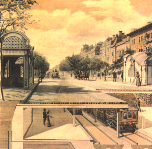 Cross-section of the first metro line under Andrassy ut, 1890s Foldalatti Andrassy.png
