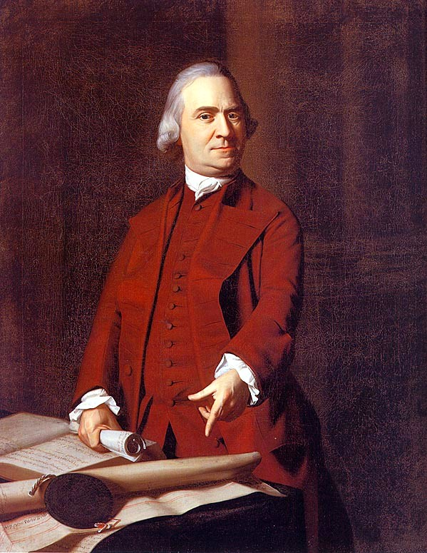 In this {{circa|1772}} portrait by [[John Singleton Copley]], Adams points at the [[Explanatory charter|Massachusetts Charter]], which he viewed as a constitution that protected the peoples' rights.{{sfn|Alexander|2002|p=103}}{{sfn|Alexander|2002|p=136}}{{sfn|Maier|1980|p=41}}{{sfn|Maier|1980|p=42}}