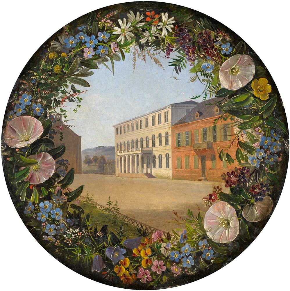Johan Laurentz Jensen Blumengirlande und Palast.jpg