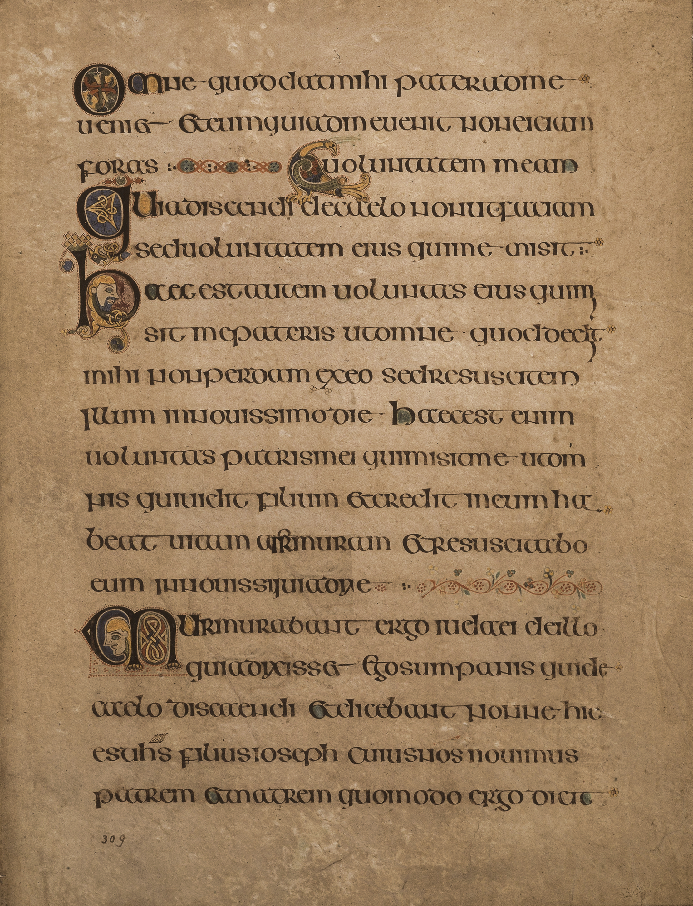 From the Book of Kells [a 1200 year old book in public domain) containing text from Gospel of John
