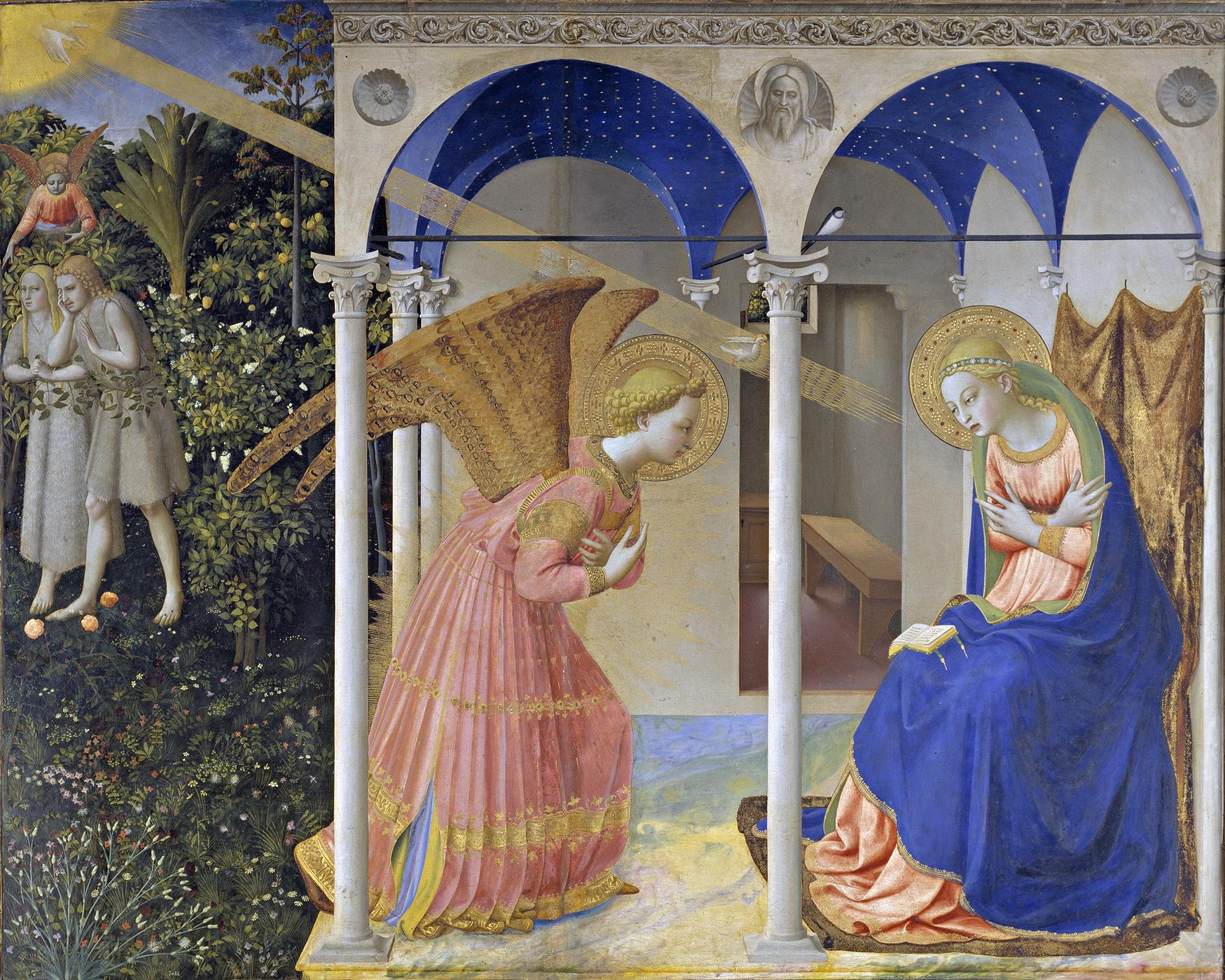 La Anunciación de María y expulsión de Adán y Eva del Paraíso. | Fra Angelico.