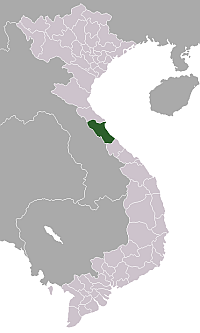 Map of Quang Binh showing the location of Dong Hoi