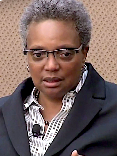 Lori Lightfoot, 56th and current Mayor of Chicago, is the first African American woman, and first openly LGBTQ mayor of Chicago. Lori Lightfoot at MacLean Center (10a).png