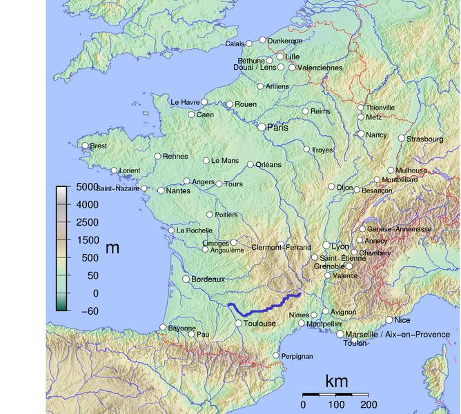 Lage des Tarn in Frankreich