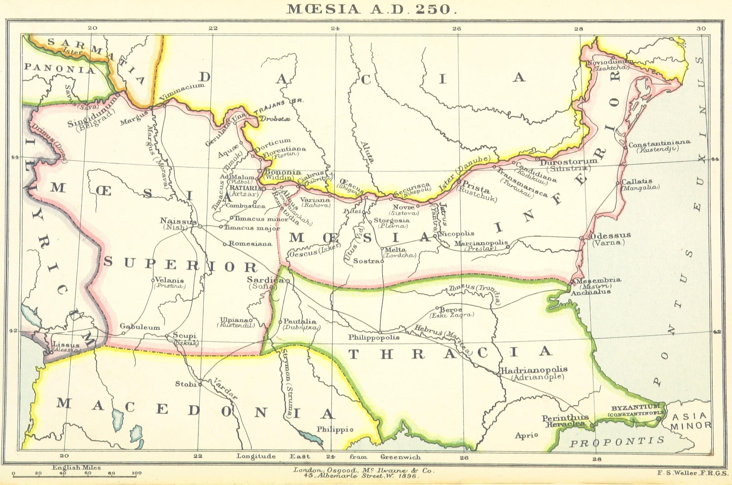 Goti. Mappa Mesia Inferiorie e Mesia Superiore. 250 d.C.